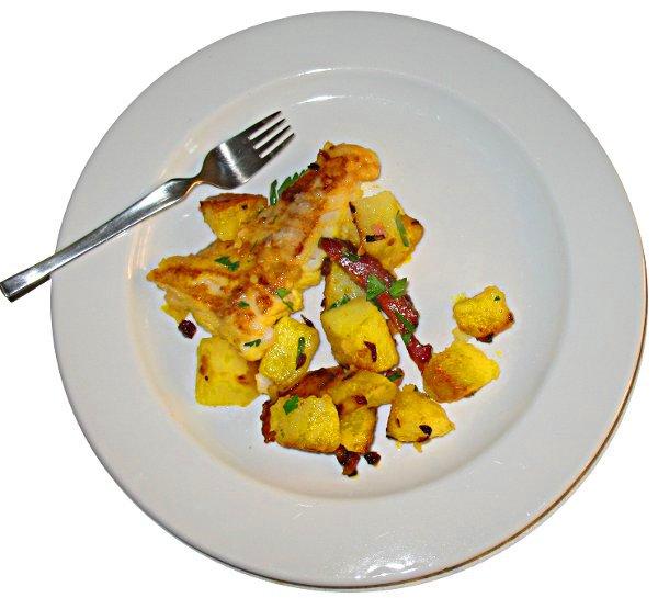 Zackenbarsch mit Bratkartoffeln